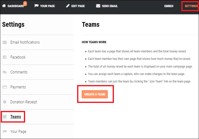 Here is how you activate team fundraising on the Fundly platform.